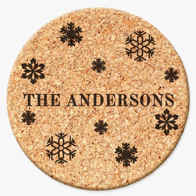 Personalized Family Cork Coasters with Snowflakes design - Set of 2 or 4 coaster.