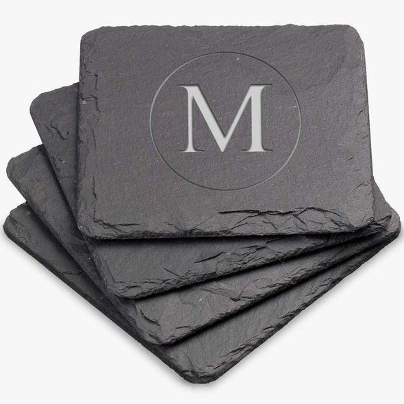 Custom Square Initial Inside Circle Slate Coasters.