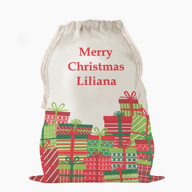 Custom Wrapped Christmas Gifts Drawstring Sack | Personalized Santa Bag