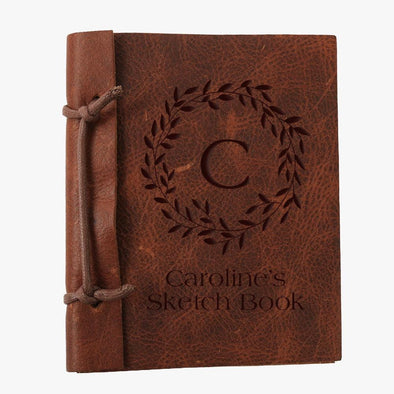 Custom Wreath Authentic Leather Journal - Medium
