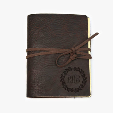 Custom Wreath Genuine Leather-Bound  Journal - Medium