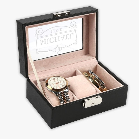 Customized 3-slot Small Black Leather Watch Case.