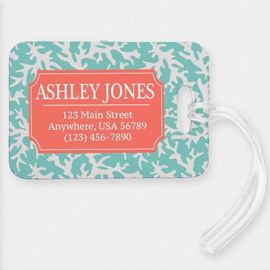 Customized Coral Name And Address Luggage Tag
