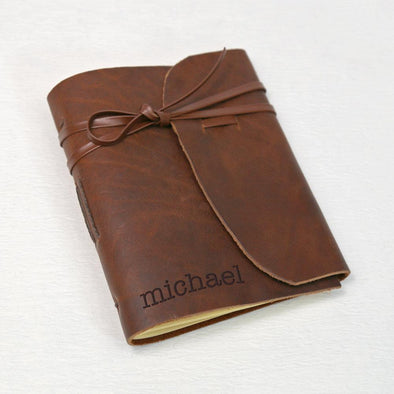 Genuine Leather-Bound Journal - Medium
