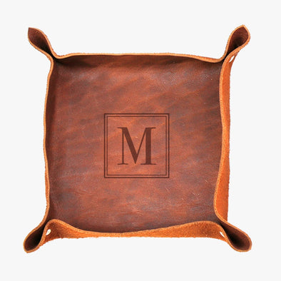 Exclusive Sale - Customized Initial Genuine Leather Stash Tray.