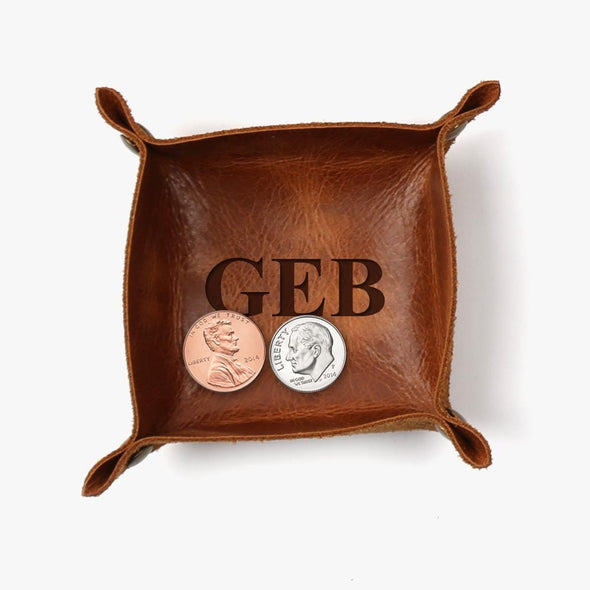 Exclusive Sale - Customized Initials Genuine Leather Mini Catchall.