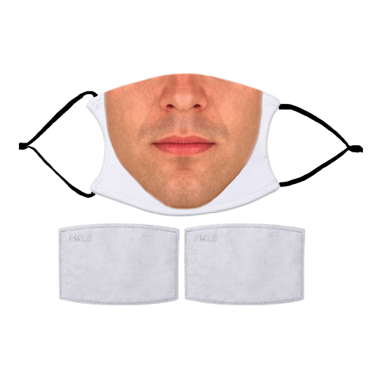 FUN MEN'S FACES PRINTED REUSABLE FACE MASK WITH OPTIONAL FILTER