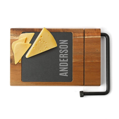 Cork Minus Bottle Personalized Slate/ Cheese Slicer w/ Acacia Wood Base