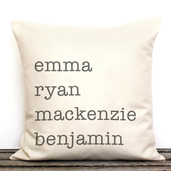 Family Names Personalized Decorative Canvas Throw Pillow.