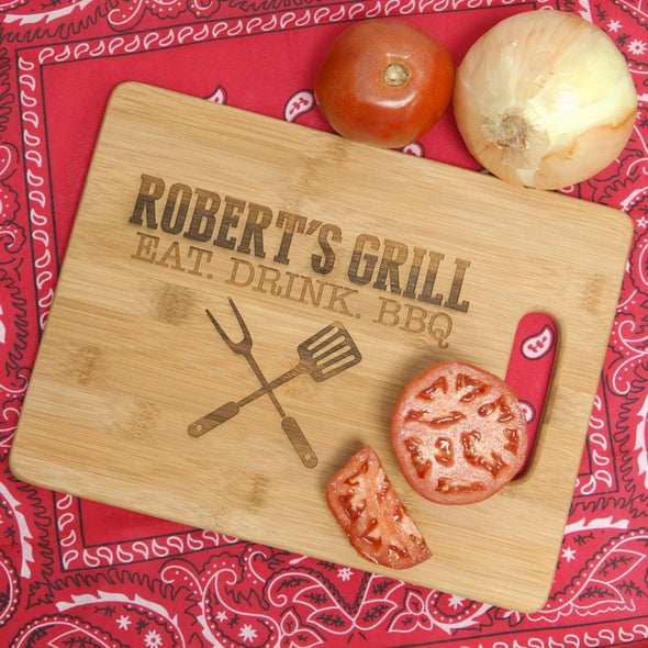 Eat Drink BBQ Bamboo Rectangle Cutting Board.