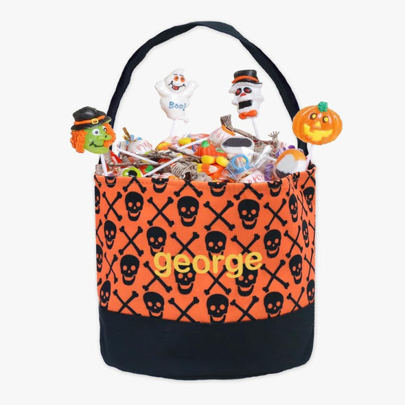 Personalized Halloween Bucket Tote Bag for Kids | Custom with name.