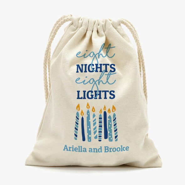 Eight Night Eight Lights Custom Drawstring Sack | Personalized Hanukkah Gifts Bag.