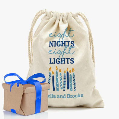 Eight Night Eight Lights Custom Drawstring Sack | Personalized Hanukkah Gifts Bag