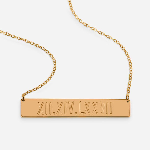 Yellow or Rose Gold over Sterling Silver Roman Numbers Engraved Bar Necklace.
