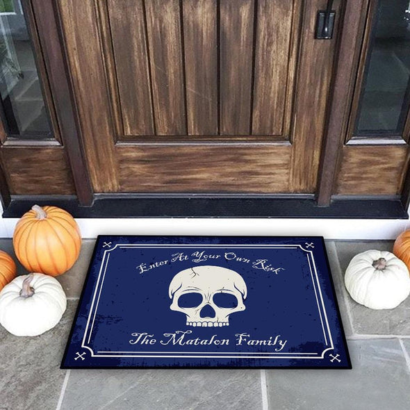 Enter At Your Own Risk Personalized Halloween Skull Doormat.