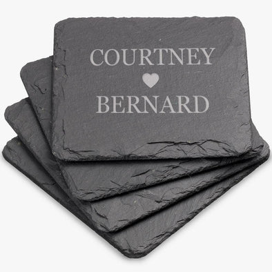 Exclusive - Couples Love Personalized Square Slate Coasters.