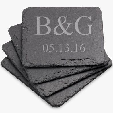Exclusive - Personalized Square Slate Coasters.