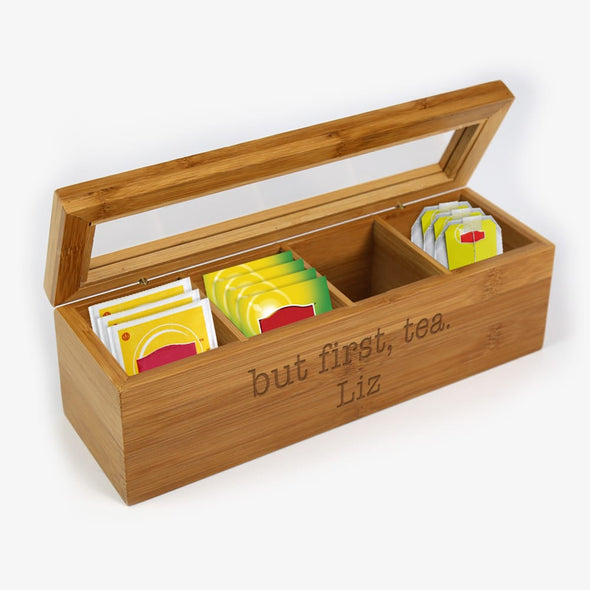 Exclusive Sale - But First, Tea Personalized Wood Tea Box.