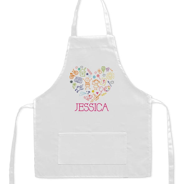 Exclusive Sale - Happy Heart Personalized Kids Craft Apron.