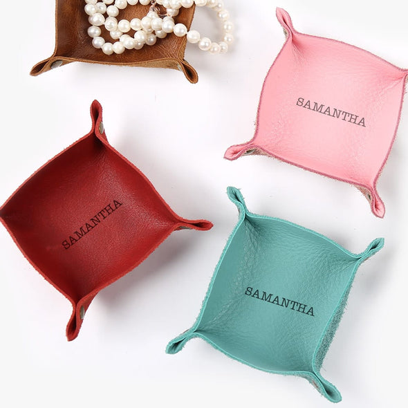 Exclusive Sale - Personalized Genuine Leather Mini Catchall.
