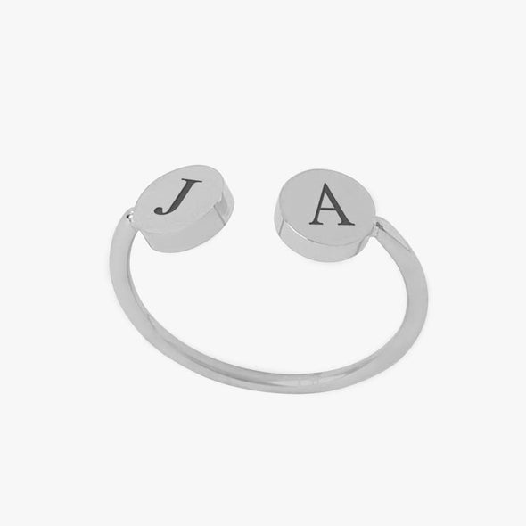Personalized w/ Initials Adjustable Stainless Steel Ring.