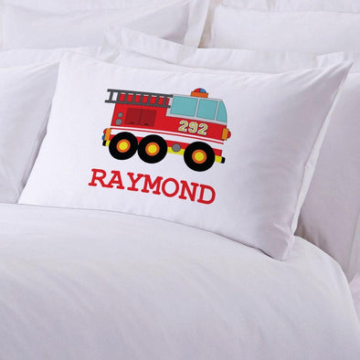 Fire Engine Personalized Kids Sleeping Pillowcase.