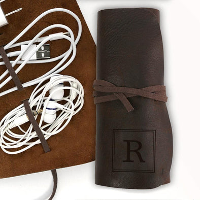 Genuine Leather Personalized Multi Cord Small Organizer.