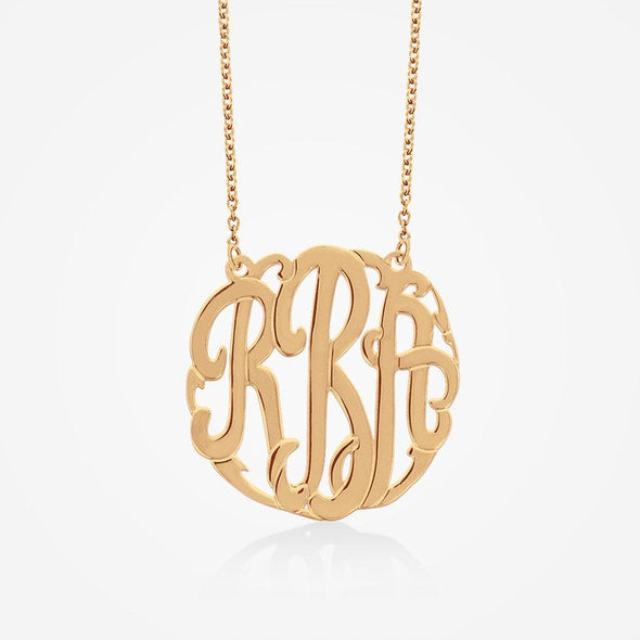 Gold Over Silver Mini Monogram Choker Necklace | Monogram Initial Pendant.