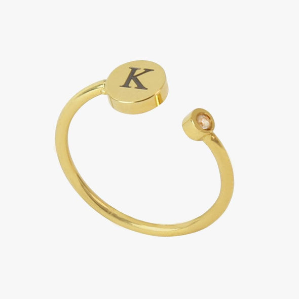 Yellow Gold Tone Stainless Steel Personalized w/ Initial Adjustable CZ Stone Ring.