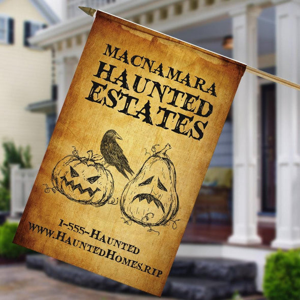 Exclusive - Sale | Haunted Estates Personalized Halloween Garden Flag.