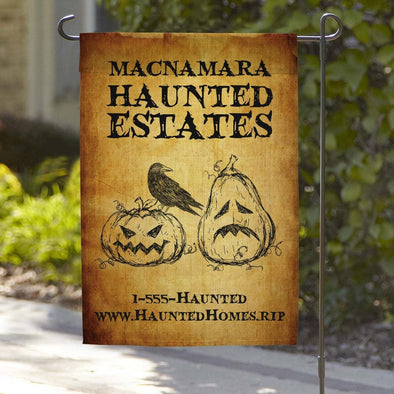 Haunted Estates Personalized Halloween Garden Flag.