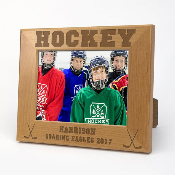Exclusive Sale - Hockey Personalized Wood Picture Frame.
