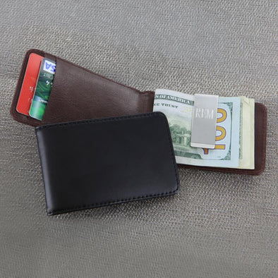 Personalized Leather Folding Case with Money Clip.