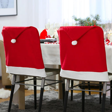 Set of 4 Santa Hat Chair Covers.