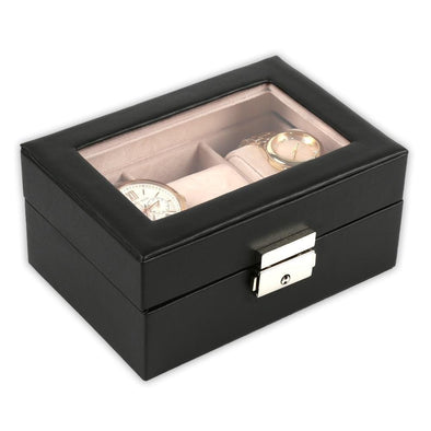 Non-Personalized 3-Slot Small Black Leather Watch Case | Watch Jewelry Box Organizer.