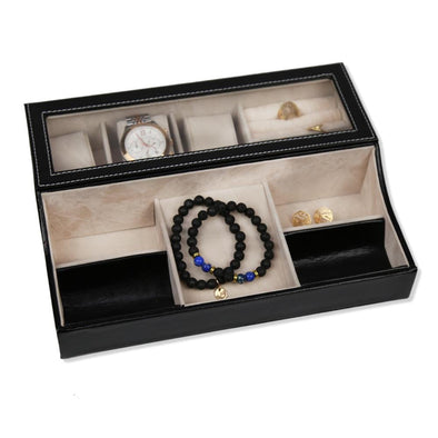 Watch Box & Jewelry Accessories Organizer | Black Leather Watch Case.