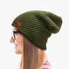 Initial Leather Tab Slouchy Beanie.
