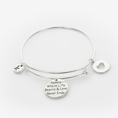 Inspirational Family Where Life Begins and Love Never Ends Charm Bangle.