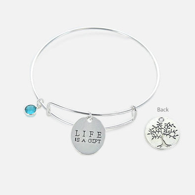 Inspirational Life is a Gift Bangle.