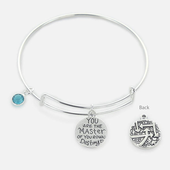 Inspirational You are the Master of Your Own Destiny Bangle.