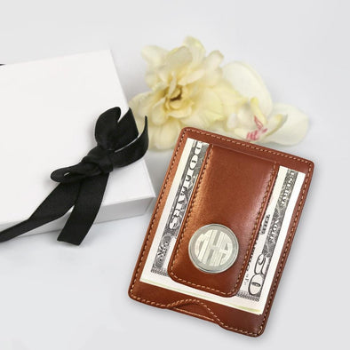 Personalized Monogram Leather Money Clip Gift Boxed.