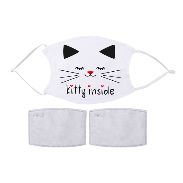 CAT Face Mask w/ 2 Filters Included | Personalized Photo Image Printed Reusable Facial Cover | Designed and Printed in USA
