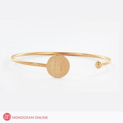 Laser Engraved Script Monogram Slim Bangle.