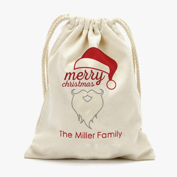 Merry Christmas Personalized Drawstring Sack for Kids | Personalized Santa Bag