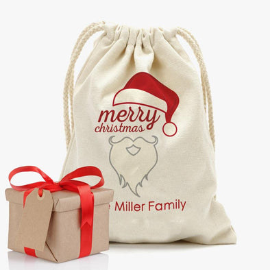 Merry Christmas Personalized Drawstring Sack for Kids | Personalized Santa Bag.