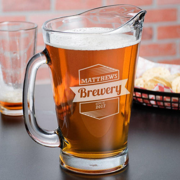 Personal Brewery Custom Glass Beer Pitcher