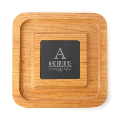 Personalized Family Acacia Wood Cheese Serving Platter w/ Slate Insert | Custom Cheese Board.