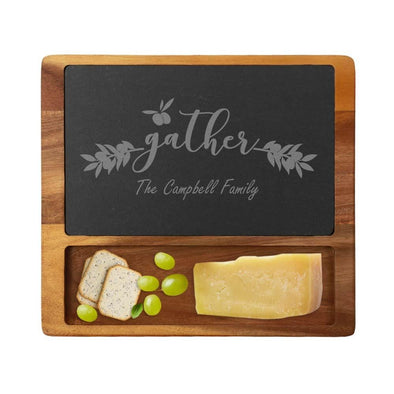 Personalized Family Gathering Cheese Slate Board w/ Acacia Wood Base | Custom Cheese Board