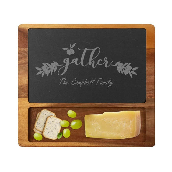Personalized Family Gathering Cheese Slate Board w/ Acacia Wood Base | Custom Cheese Board.