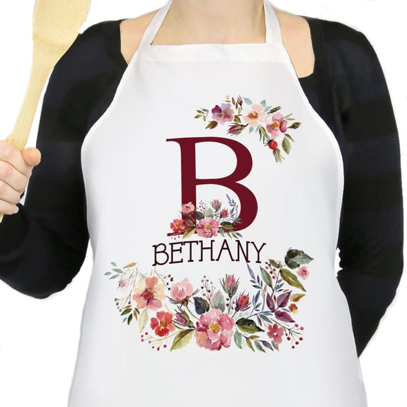 Personalized Floral Design Name Apron.
